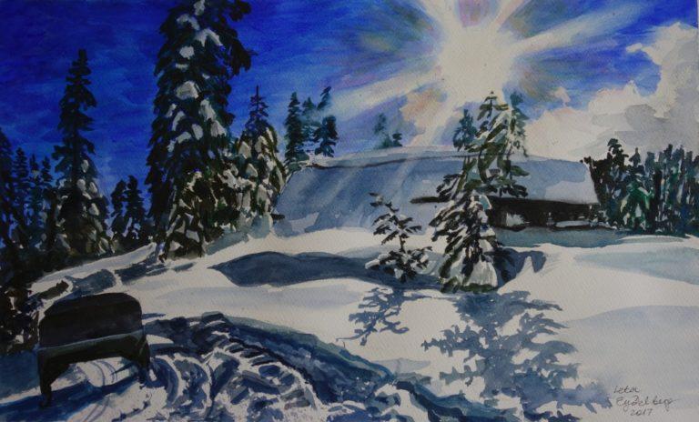 Winter snow landscape with bright sun